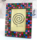 NEW GIFT - MULTI-COLOUR MOSAIC GLASS TILED PHOTO / PICTURE FRAME (size choice)