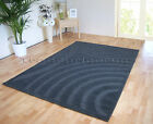 SMALL - EXTRA LARGE CHARCOAL DARK GREY THICK MODERN SWIRL ARCS CARVED RUG SALE