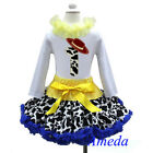 1st Birthday Cowgirl Pettiskirt Red Hat White Long Sleeves Top 2pcs Outfit 1-7Y
