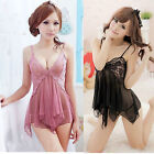 Sexy Lingerie Hang Neck Transparent Deep V Lace Nightdress Pajamas Nightwear