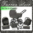 Lux4kids Classic One Silver 3 in 1 Pram Travel System Stroller Pushchair