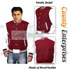 Varsity College Baseball Maroon Wool Body and White Real Leather Sleeves Jacket