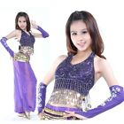 Belly Dance Costume Sequins Top, Hip Scarf and Harem Pants 10 Colors