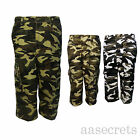 Mens Camouflage Army Camo Cargo Combat  3 4 shorts, Summer Casual Holiday Wear