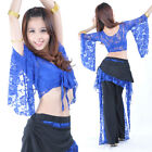 New Sexy Belly Dance Costume Lace Butterfly Sleeve Top Bra 11 Colors