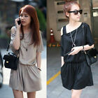 Womens Sexy Solid Black & Gray Off Shoulder Jumpsuit Shorts Pant Casual Playsuit