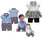 Baby 3-9, 6-12,White, Sky Blue Shirt w Brown Plaid Checked Pants, Dress 12-24