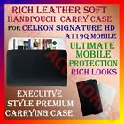 RICH LEATHER SOFT CARRY CASE CELKON SIGNATURE HD A119Q HANDPOUCH COVER POUCH NEW
