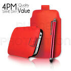 PU Leather Pull Tab Pouch Case Cover & Stylus Pen For Various Sony Xperia Phones