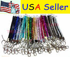 Wholesale lot Rhinestone Bling Crystal Wristlet Lanyard w/ Key Chain Key Holder