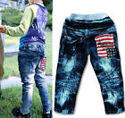 New Size 2-7Y Boys Girls Pants Kids Fashion Printing Flag  Jeans PB043 C