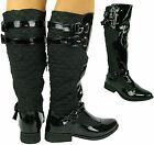 NEW CALF WOMANS KNEE HIGH FLAT HEEL PATENT BLACK FUR QUILTED BIKER RIDING BOOTS