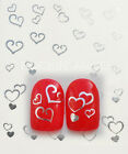 Nail Art - Water Transfers Decals - Assorted Hearts available in Gold or Silver