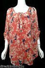NEW Evans LADIES CASUAL FLORAL BIRD CHIFFON BLOUSE TOP sz 14-28 CORAL