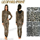 ADULTS LADIES LEOPARD ANIMAL PRINT ONESIE HOODED JUMPSUIT ALL IN ONE S M L XL