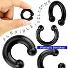 Black Flexible Silicone Horseshoes Gauge Sizes 3mm 4mm 5mm 6mm 8mm 10mm 12mm