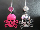 Belly bar , Skull and crossbones , pink or silver...uk seller