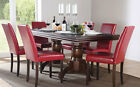 Chatsworth & City Extending Dark Wood Dining Table & 4 6 Chairs Set (Red)