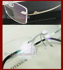 RIMLESS IP-TITANIUM MEN WOMEN rectangle super light weight eyeglass frames NEW