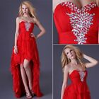 Tiered Red Sexy Beaded Women's Party Ball Gown Prom Bridesmaid Evening Dresses