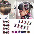 Lots 6pcs Girls Crystal Rhinestone Flower Mini Hair Claws Clips Clamps Hairclips