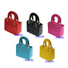 Girls Red Black Pink Blue Yellow Lovely Checked Handbag Kiss Lock Party Bag