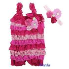 Baby Hot Light Pink Rosettes Pearl Lace Petti Romper Crystal Headband NB-3Y