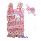 Light Pink White Rosettes Flower Pearl Lace Petti Romper Crystal Headband NB-3Y
