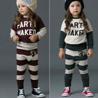 New Kids Letter Stripes Top T-shirt+ Pants Set 2-7Y Clothes  Tracksuit TS031