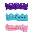Newborn Baby Knitted Crochet Crown Blue Pink Purple Crystal Tiara Photo Prop 0-6