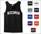 State of Wisconsin College Letter Tank Top Jersey T-shirt