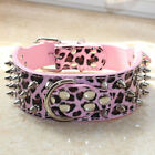 New Camouflage Leather Dog Collar Spiked Studded Collar PitBull Terrier Boxer