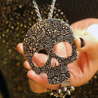 FASHION JEWELLERY LONG SKULL NECKLACE ANTIQUE SILVER BRONZE GOTHIC VINTAGE STYLE