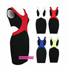 Womens Sleeveless Cross Contrast Textured Side Cut Out Bodycon Short Party Dress