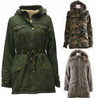 Ladies Women Fur Hooded Military Parka Parker Quilted Paded Jacket Coat Big Size