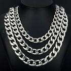11/13/15mm MENS Chain Boys Curb Link Silver Stainless Steel Necklace 18-36inch