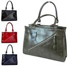 LADIES TOTE BAG TWO TONE FAUX LEATHER CLASSIC SHOULDER HAND BAG *SALE FROM £4.99