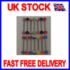 FUNKY TONGUE BAR -19MM  BAR - BALL SIZE 5MM - FAST DELIVERY - VARIOUS COLOURS
