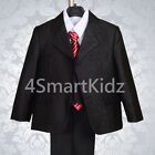 5 Pcs Set Shining Formal Suit Outfit Christening Wedding Page Boy Size 1-6 #024A