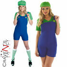 Ladies Sexy Plumbers Mate Green Luigi 80's Fancy Dress Costume All Sizes 8 - 30