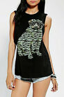 Army Pug Graphic Corner Shop Muscle Tee Shirt Top Urban Tank Raw Armholes