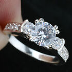 7MM Round Center Gem Women Sterling Silver Promise Ring Size 6 7 8 9