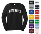 Country of North Korea College Letter Long Sleeve Jersey T-shirt