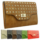 New Leather Satchel Clutch Bag Celeb Vintage Studded Tribute Handbag Messenger