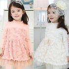 New Girls Flower Dress Kid  Long Sleeve Rose Chiffon Dress 2-7Y Clothes AD050