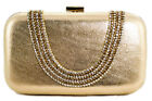 Womens Gold Metallic Faux Leather Clutch Bag Hard Case Sparkly Diamonds Evening
