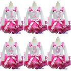 Hot Pink Pettiskirt Tutu Bling Number Birthday Long Sleeves Tee Party Dress 1-6Y