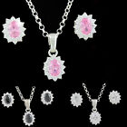 New Sterling Silver 925 with Zircon in 3 colors, Earrings,Pendant,Bracelet Gift