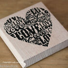 Large Wooden Rubber Stamp Heart Love - Black or Red Inkpad - Craft / Wedding