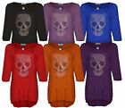 Women Ladies New Skull Plus Size Studded Top Dress Tunic Long T-Shirt Size 14-28